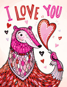 Anni Betts, cute, bird, hearts, directory of illustration, commercial illustration, love, valentine, valentine's day