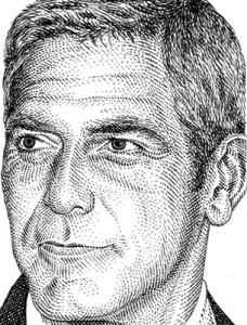 Barbara Kelley, George Clooney, actor, illustration, commercial illustration, illustrator, commercial illustrator, hollywood, cinema, film, movies, directory of illustration