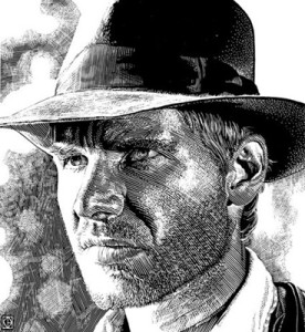 Kent Barton, Indiana Jones, Harrison Ford, actor, illustration, commercial illustration, illustrator, commercial illustrator, hollywood, cinema, film, movies, directory of illustration