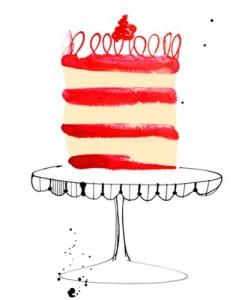 Margaret Berg, cake, food, baking, food illustration, directory of illustration, commercial illustration, love, valentine, valentine's day