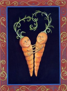 Rebecca Dickinson, carrot, carrots, directory of illustration, commercial illustration, love, valentine, valentine's day