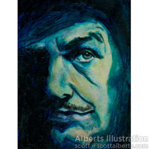 Scott Alberts, Vincent Price, painting, actor, movie actor, celebrity, illustration, commercial illustration, illustrator, commercial illustrator, hollywood, cinema, film, movies, directory of illustration