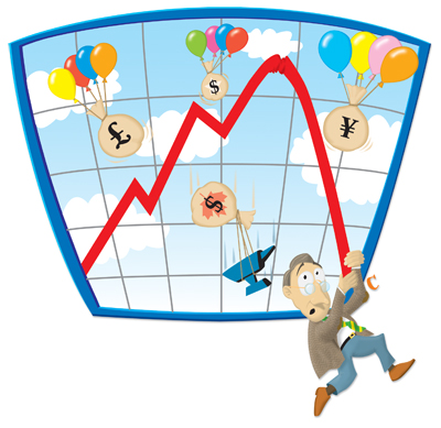 Peter Cook, stock market, commercial illustration, illustration, economics, money, conceptualization, directory of illustration, professional illustrator,