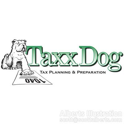 Scott Alberts, logo, logo design, dog, directory of illustration, commercial illustration, illustration, money, taxes, economics, art, design, editorial