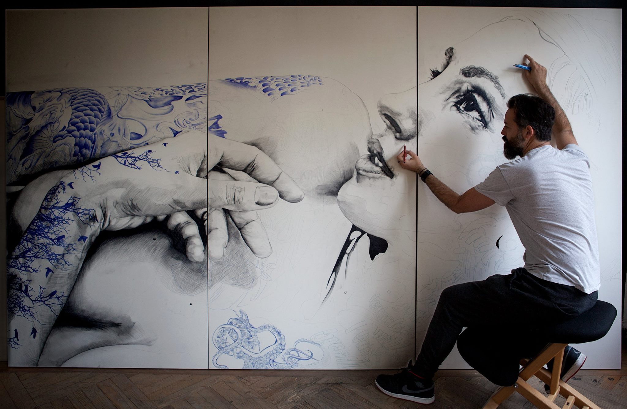 Gabriel Moreno, working on a new piece