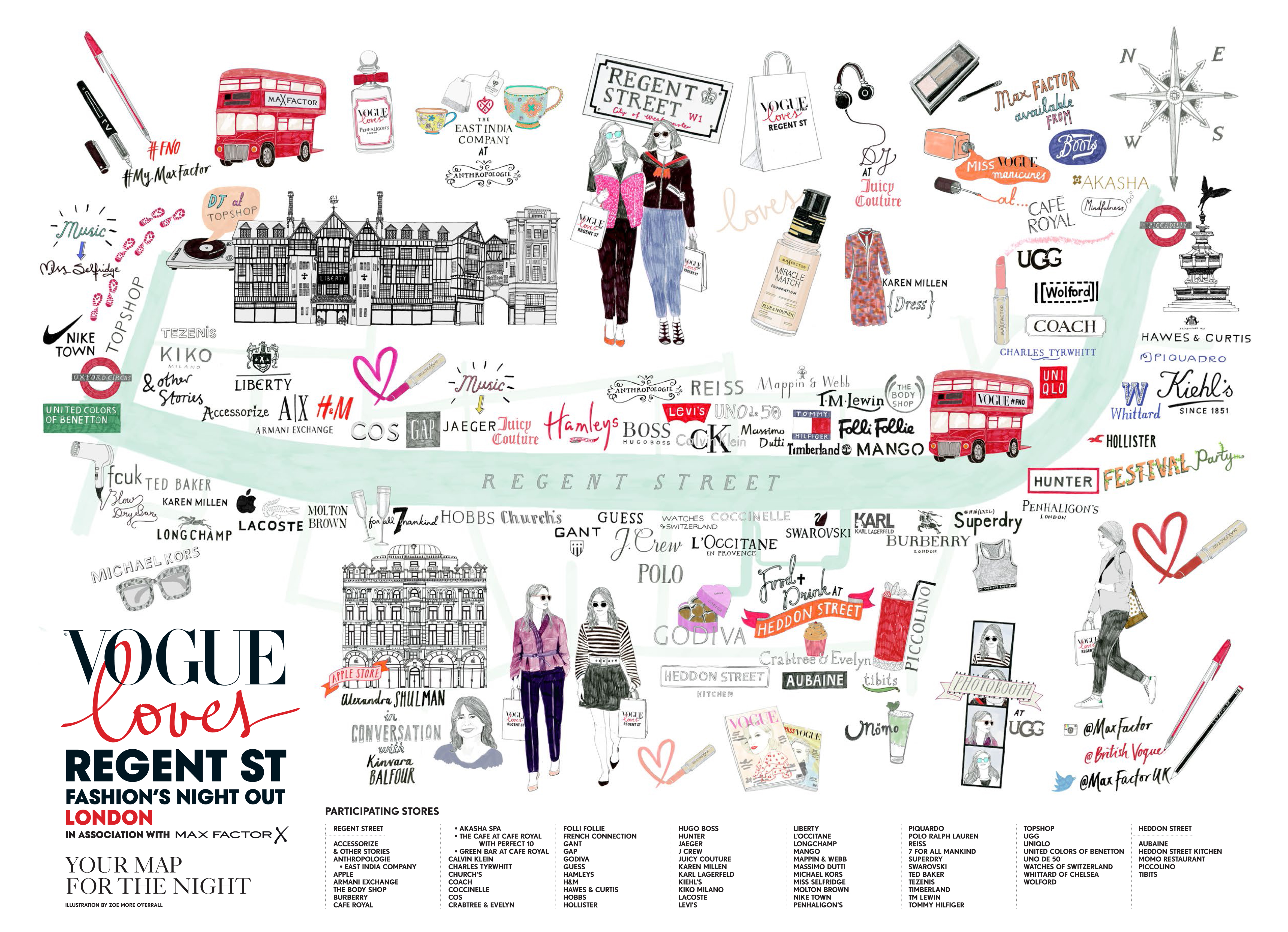 Vogue Loves Regent Street Fashion's Night Out Map illustrated by Zoe More O'Ferrall