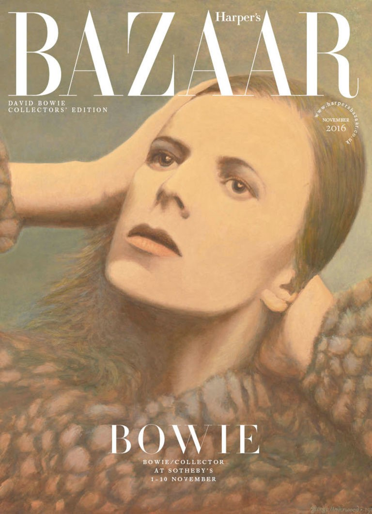 Painting by George Underwood for David Bowie's Hunky Dory Album on Harper's Baazar November cover