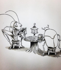 Underground Cafe #inktober #insects #cafe #coffee #artist…