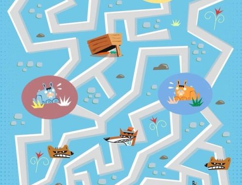 Rabbits labyrinth, game illustration created for Recreio, a…