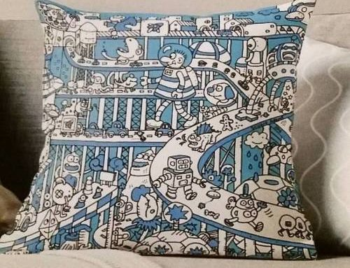 My 'Blue Busy City' design on a Throw Pillow. For…