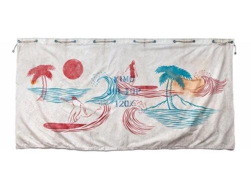 """~Kimo~ 68""""x35"""" multi-plate linocut print on vintage marine…"""