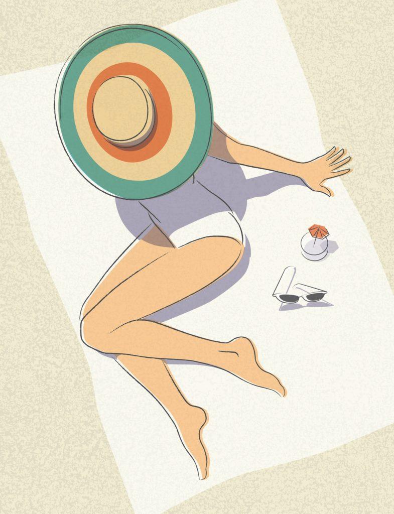 looseendstudio girl suntanning beach