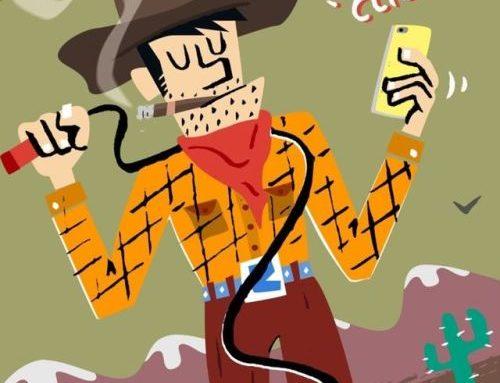 Cowboy fazendo um selfie, Revista Seleções, 2016, coluna…