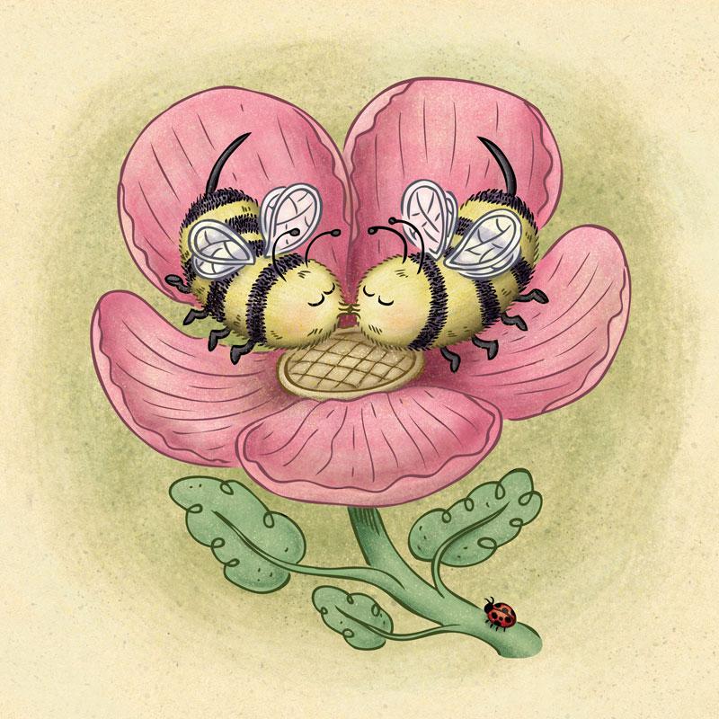 Two cute bees kissing inside a spring flower. By illustrator Scott DuBar