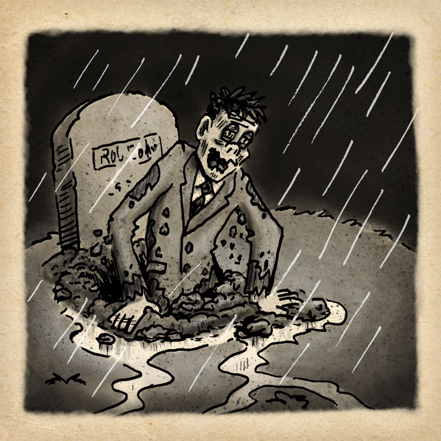 inktober 2018 week 4: Zombie claws his way out of the grave on a rainy night.