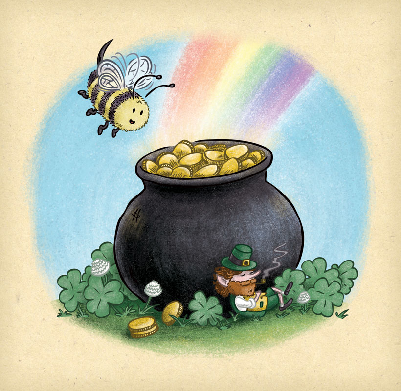 Bee finds a leprechaun and his pot of gold at the end of the rainbow.