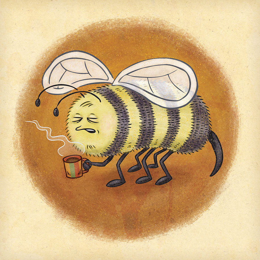 Sleepy, determined bee prepares for a busy day with a fresh cup of coffee.