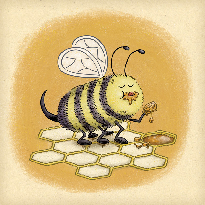Bee helps himself to some fresh honey.