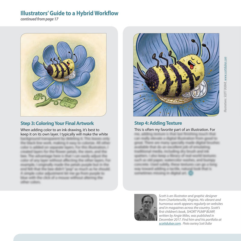Hybrid workflow article by illustrator Scott DuBar. For the SCBWI Mid-Atlantic Highlighter.