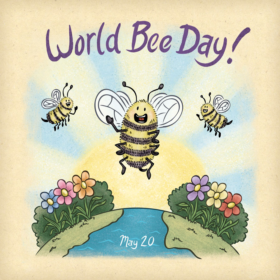 Happy bees celebrating a bright and sunny World Bee Day.