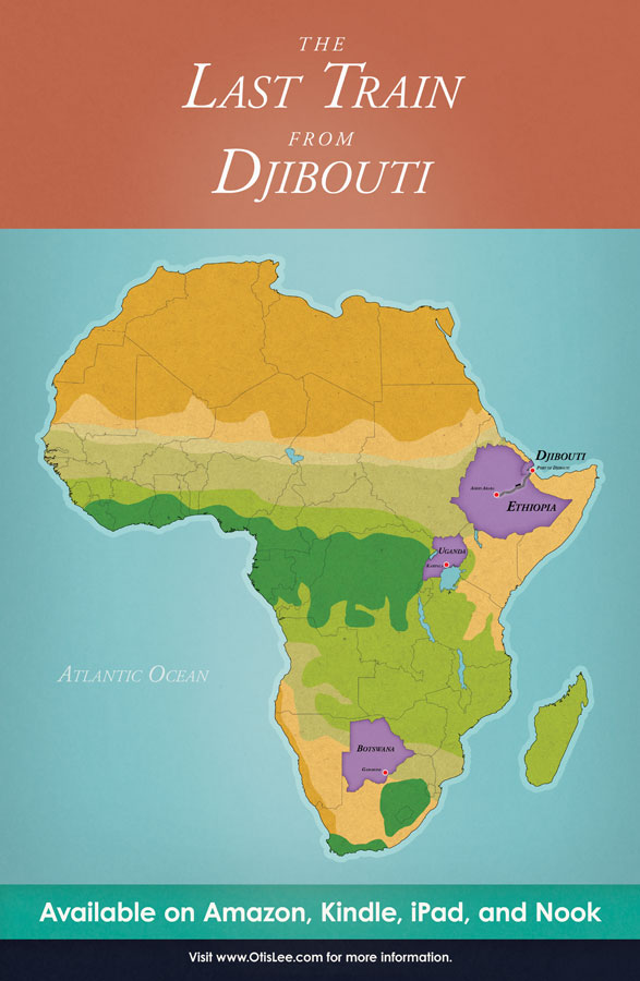 Illustrated map for The Last Train From Djibouti. Graphic design by Scott DuBar.