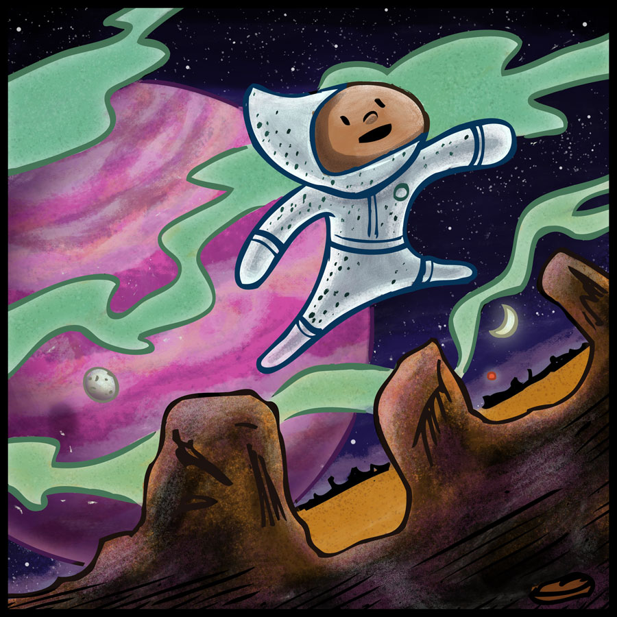 Little boy explores an alien planet. illustration by Scott DuBar