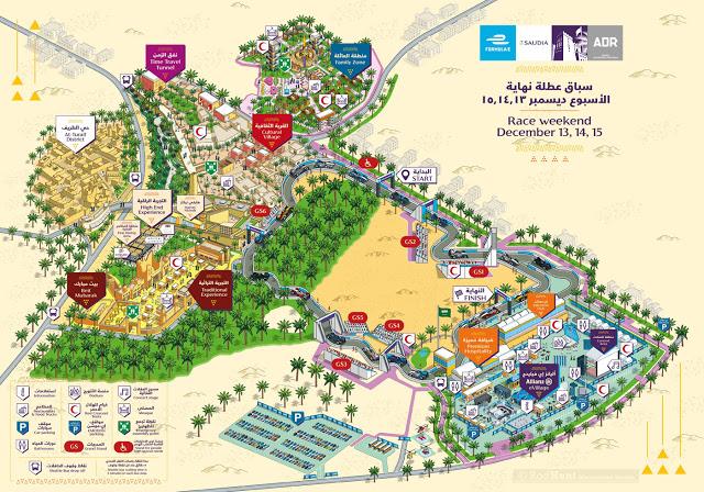 Formula E 2018 Ad Diriyah E-Prix Event Map Illustration