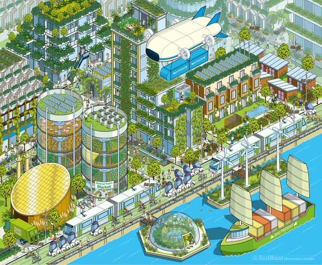 Latest Project: Megacity 2050 - Bloomberg Businessweek Illustration - Environmental, sustainability, urban living, future cities, architecture