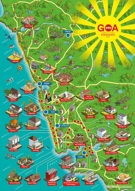 OYO Rooms Goa Map Illustration