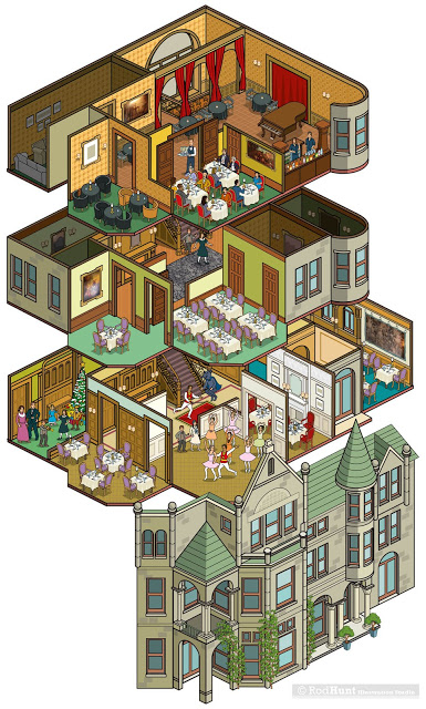 Whitney Mansion in Detroit, USA. Building map and guide illustration