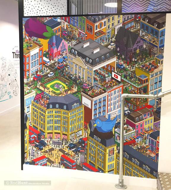 Three #PhonesAreGood In-Store Mural Retail installation Illustration