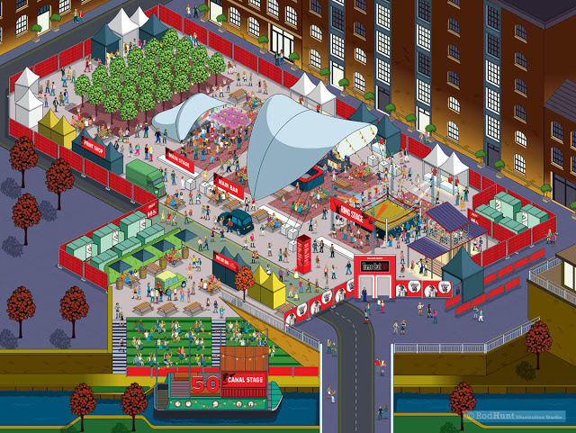 Time Out 50 London Party Event Map Illustration