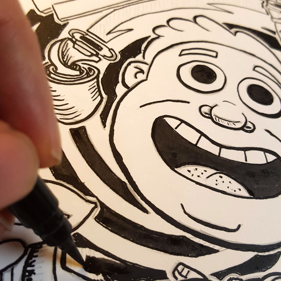 Inking my illustration.