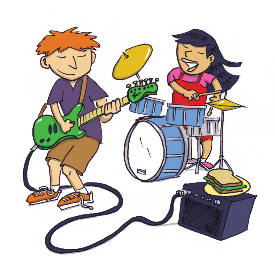 Two kids playing rock music. illustration by Scott DuBar