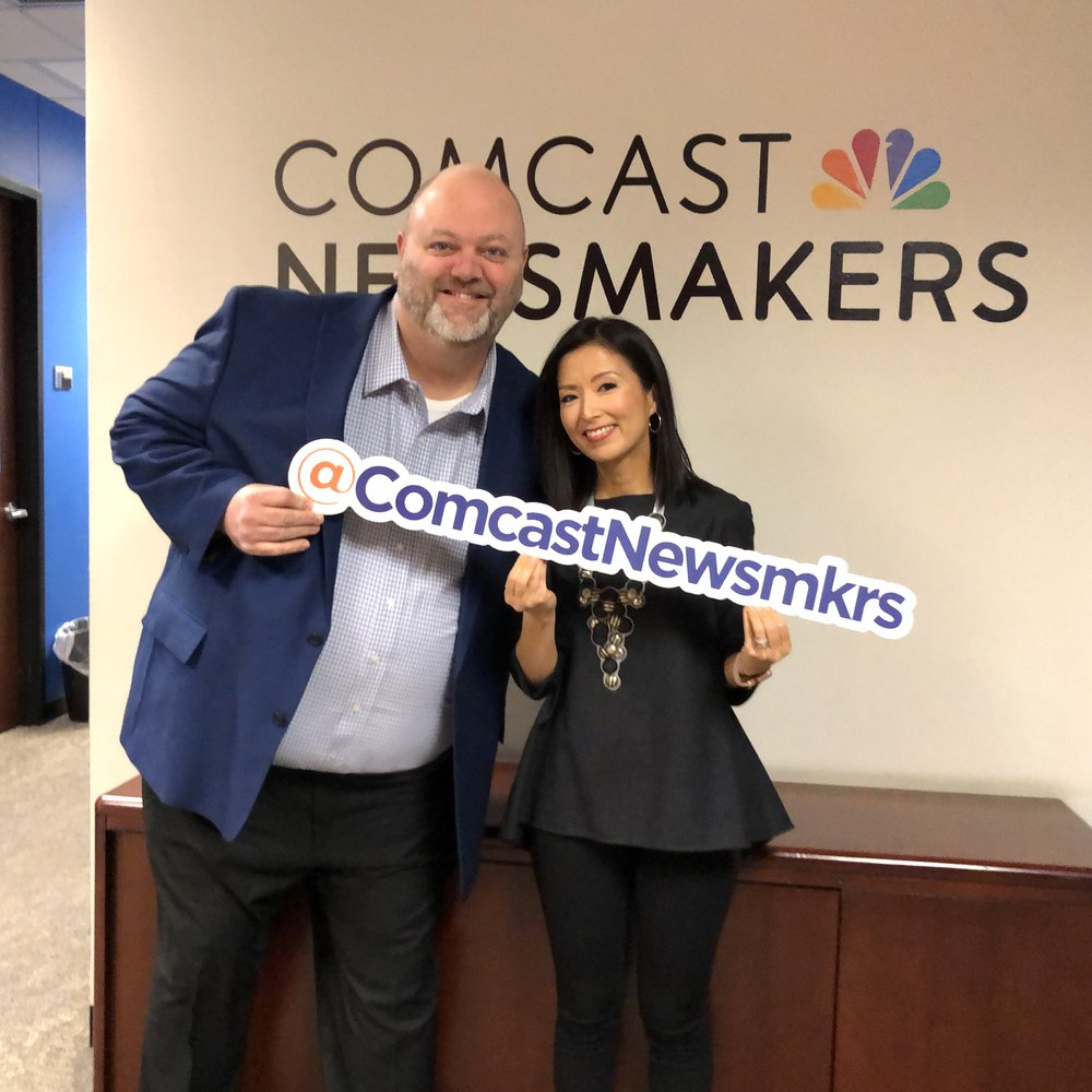 Chicago Treasure Co-Author & Illustrator Rich Green with Ellee Pai Hong of Comcast Newsmakers