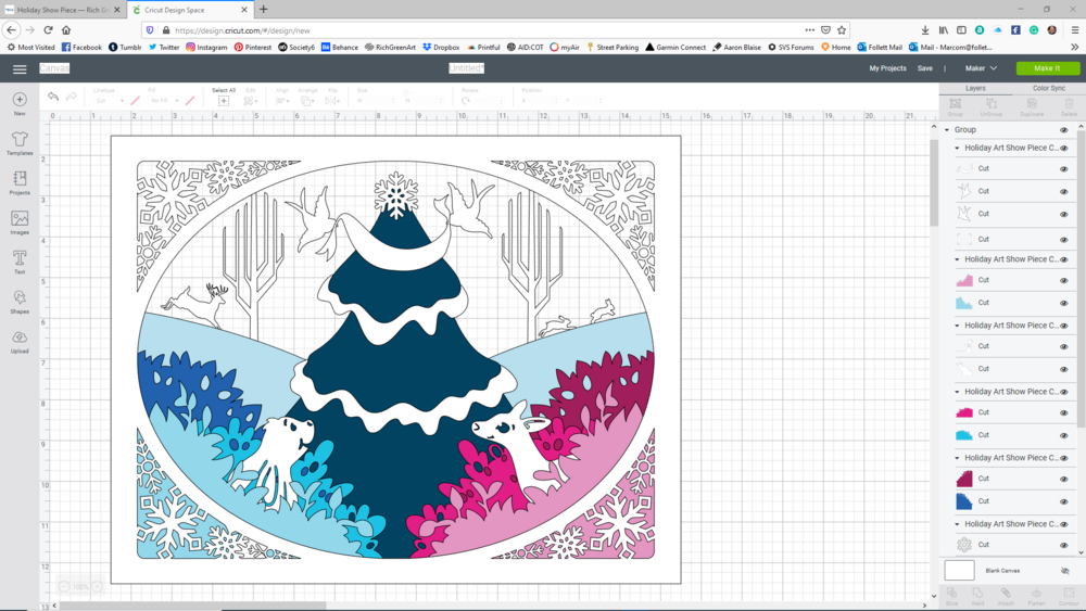 Cricut Design Space after importing svg file saved from Illustrator