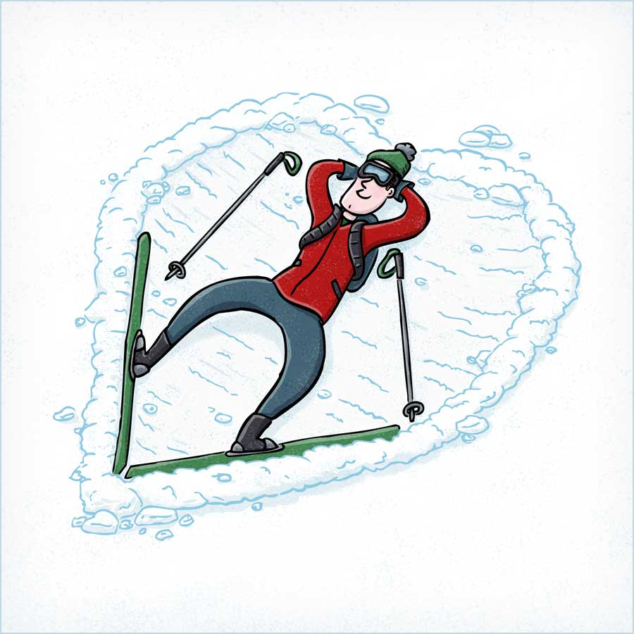 """""""I Ski Because"""" Skier making a heart shape while laying in the snow. Illustration by Scott DuBar."""
