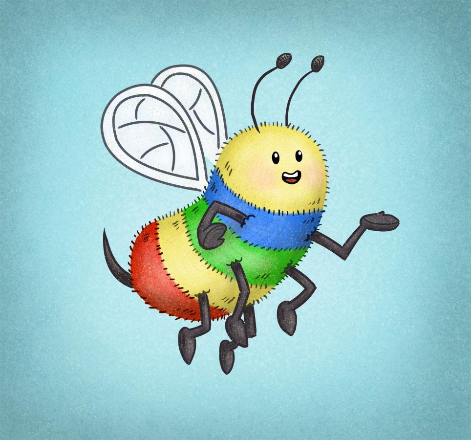 Cute, little rainbow bee illustration by Scott DuBar.
