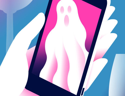 "Illustration by Neil Webb for a Metro story on ""ghosting""."