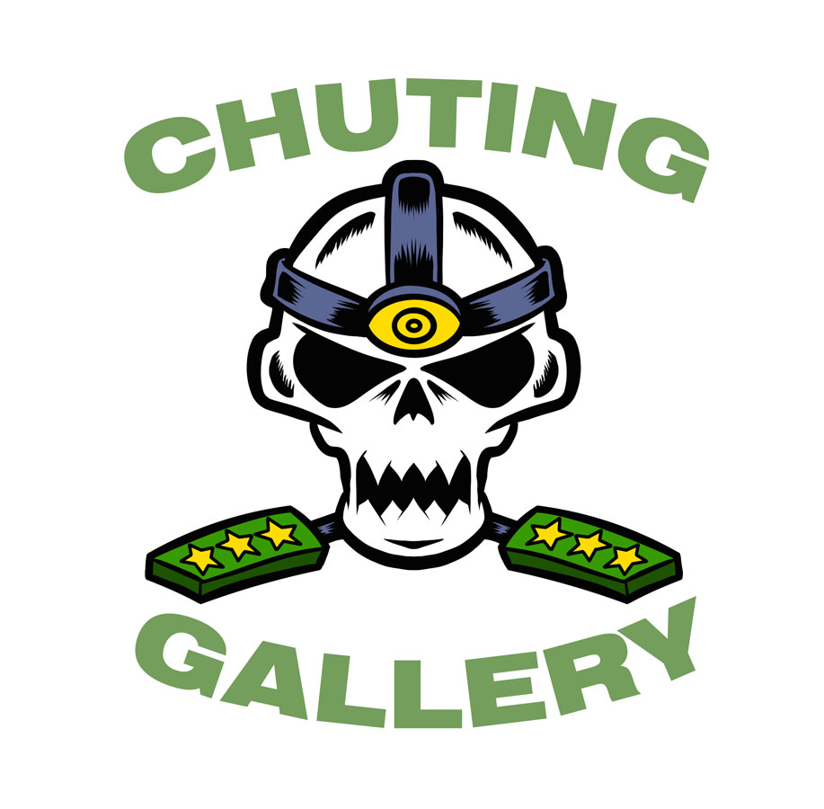 Chuting Gallery Embroidered Hat Skull Logo by illustrator Scott DuBar.