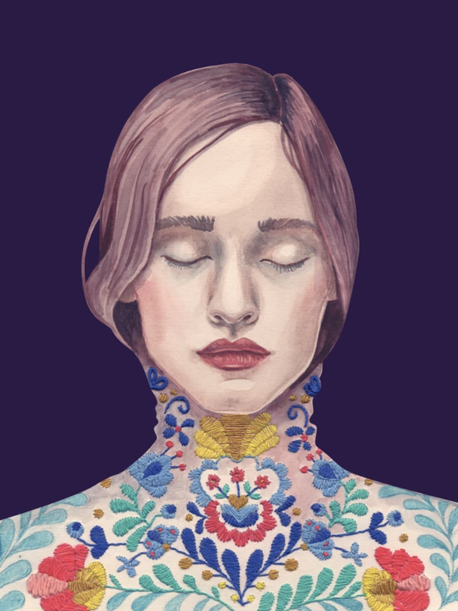 Portrait illustration of a woman with a colorful neck tattoo.