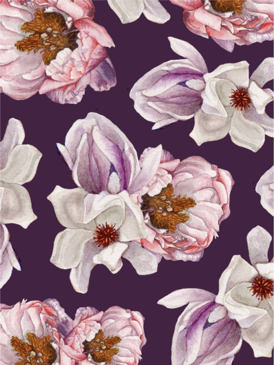 Illustration of flowers on a purple background.