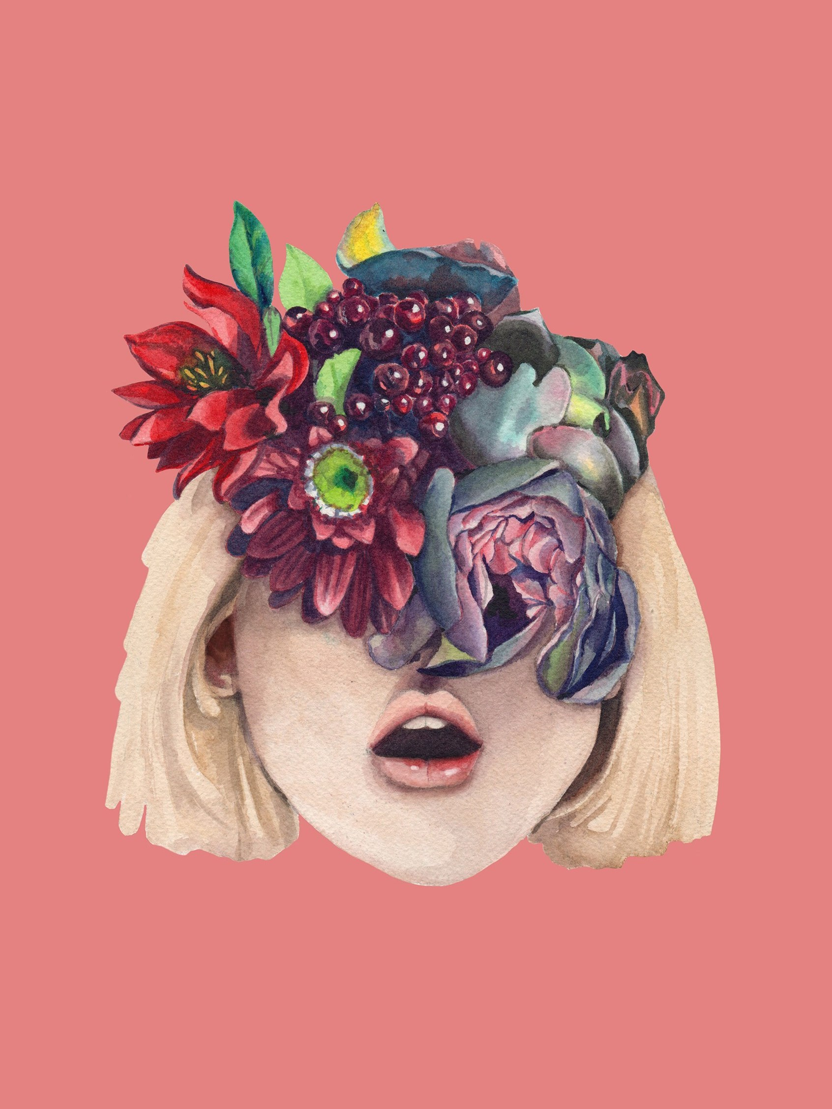 Illustration of flowers obscuring a girls face