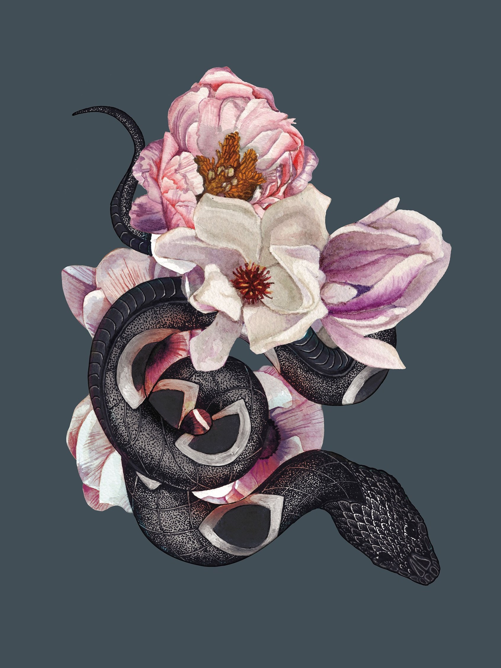 Illustration of a black snake curled around a bouquet of flowers.