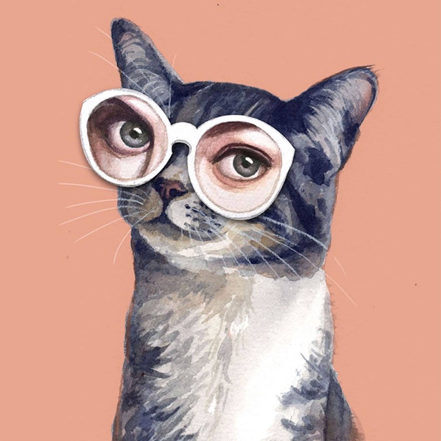 illustration of a cat wearing glasses.