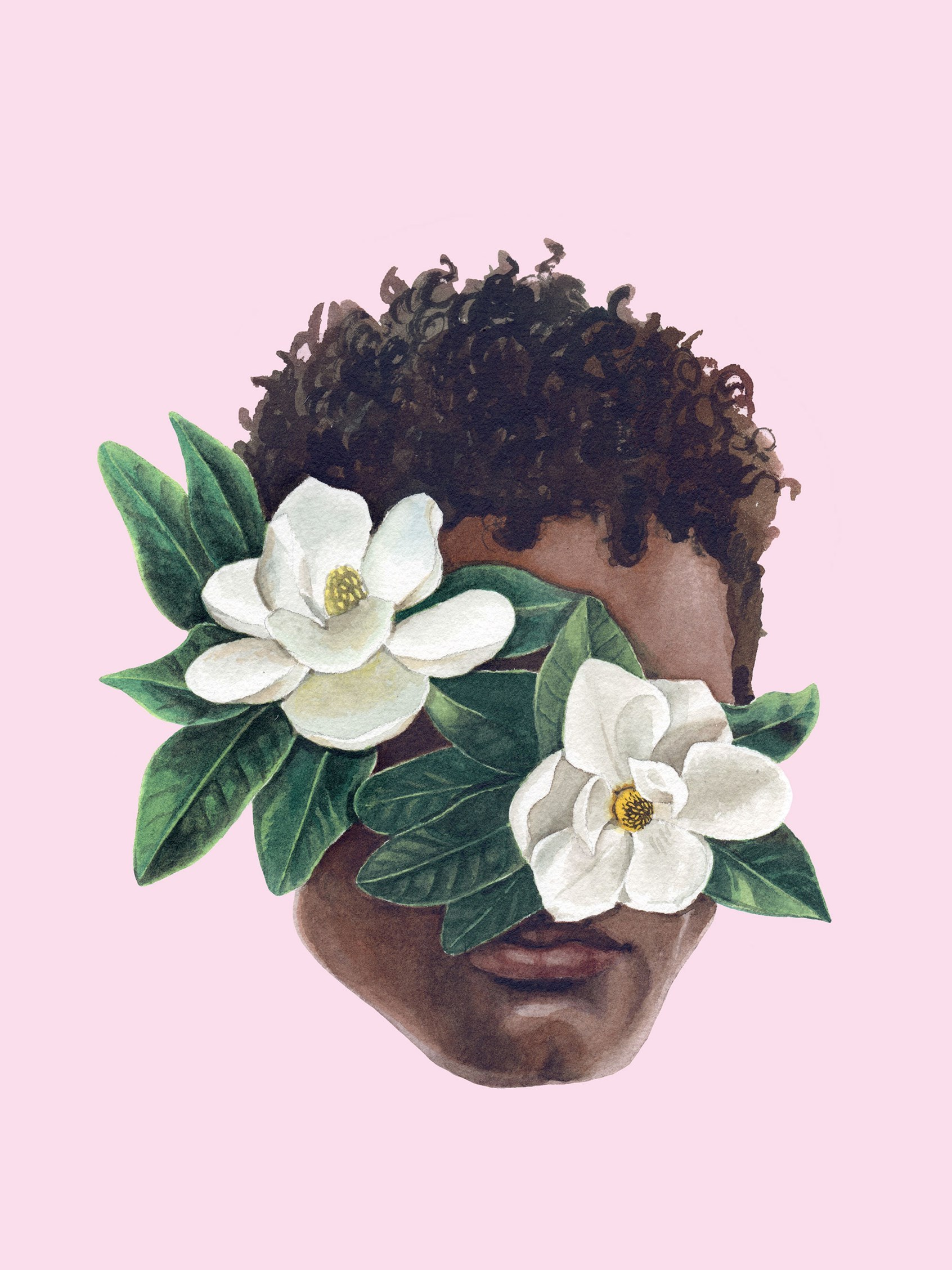 Portrait of a man's face obscured by flowers.