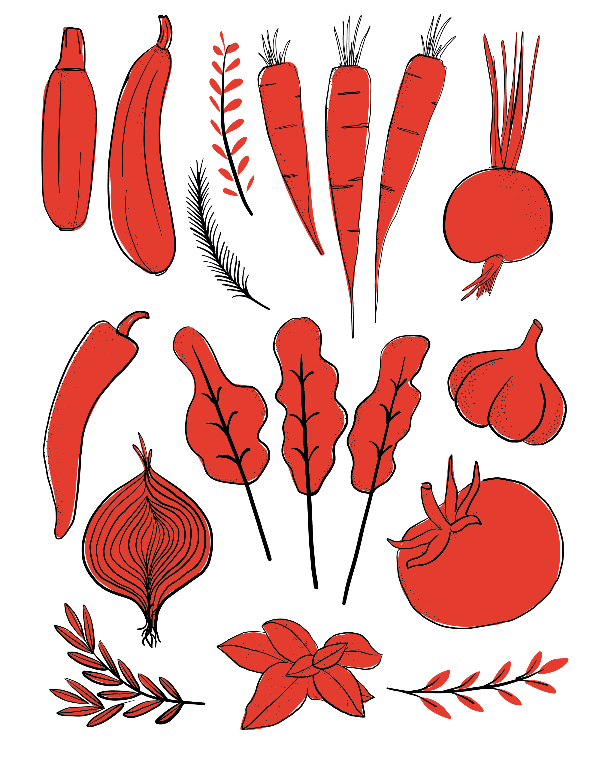 Illustration of vegetables all colored red.