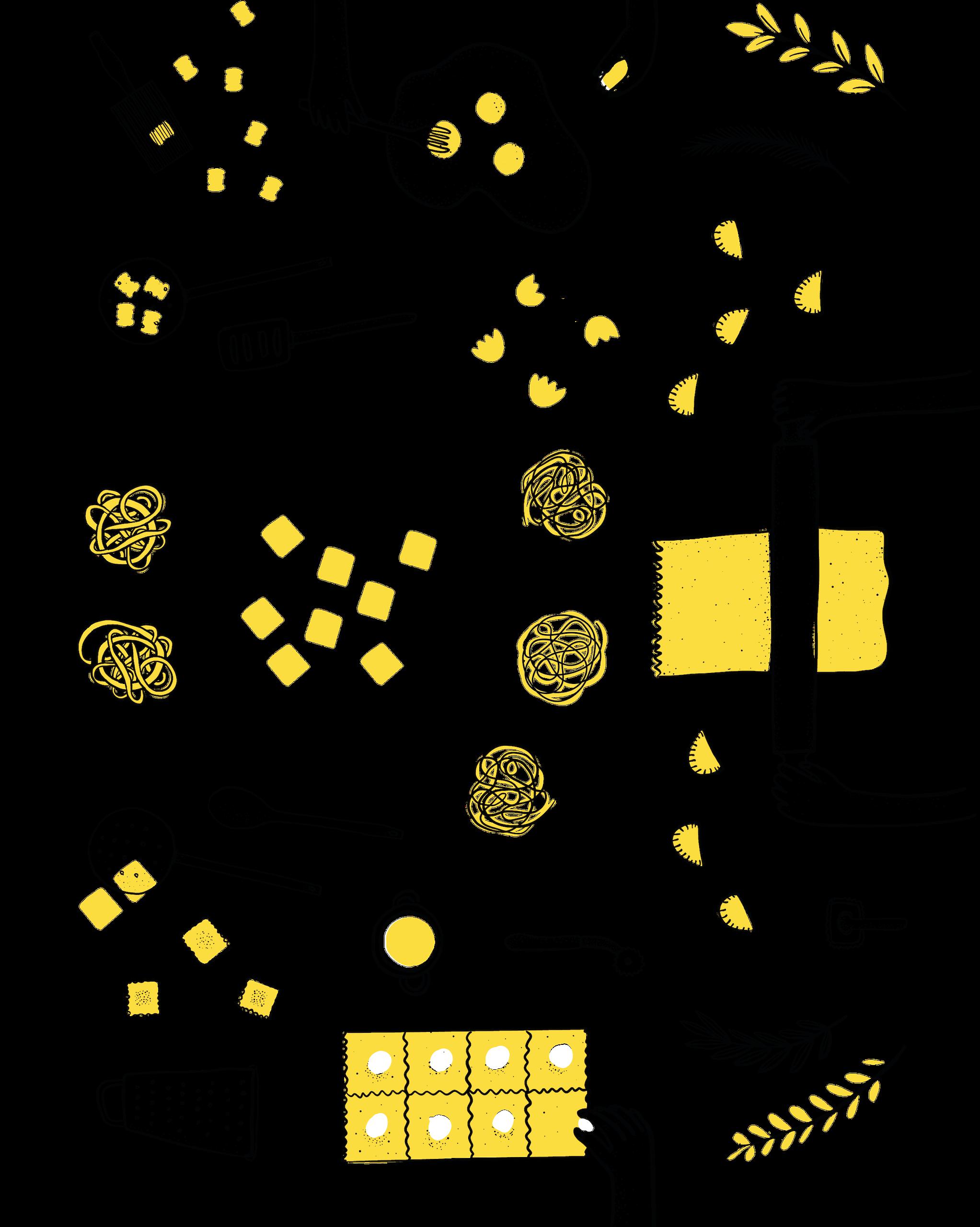 Graphic illustration of hands preparing pasta.