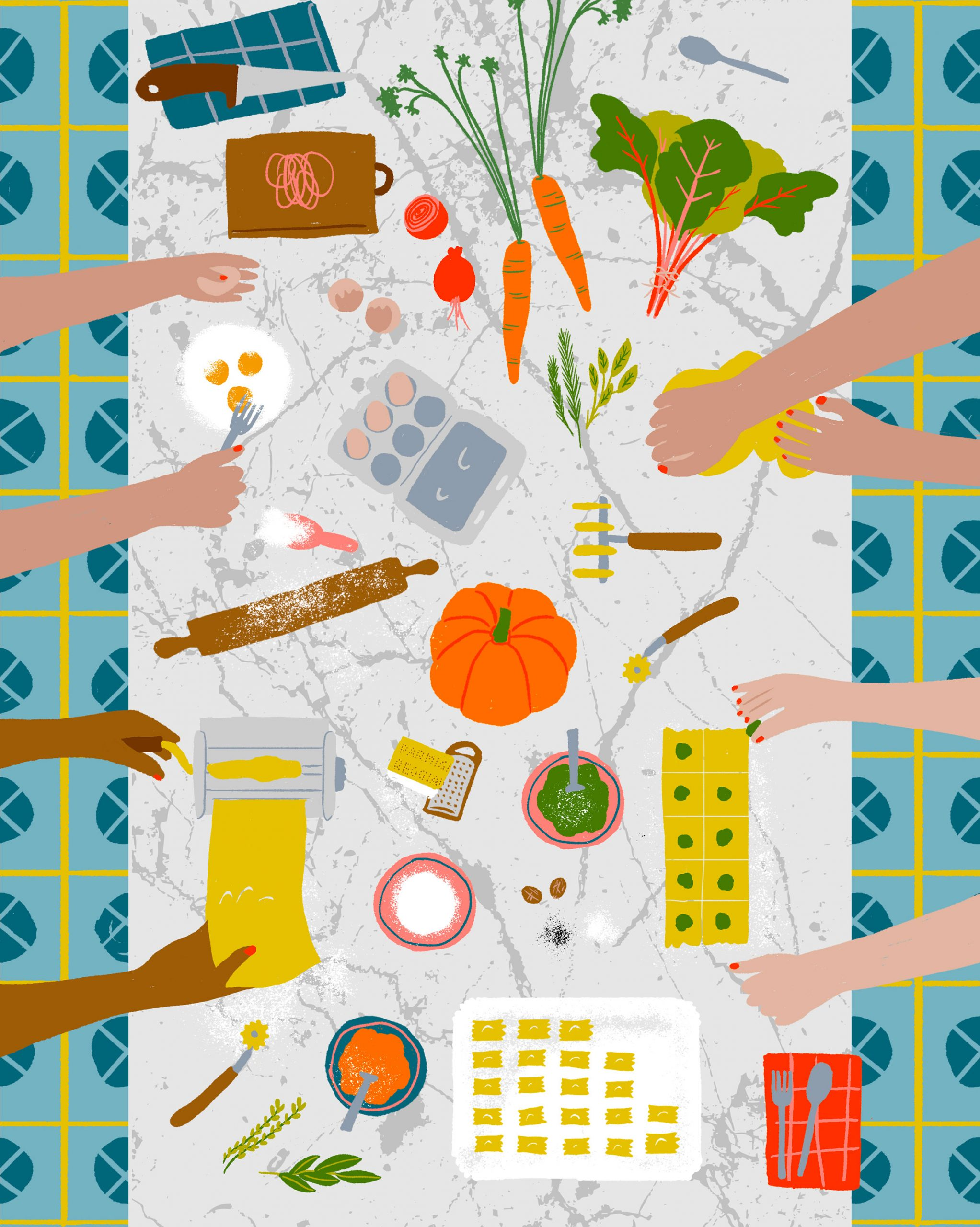 Illustration of many hands over a table preparing food.