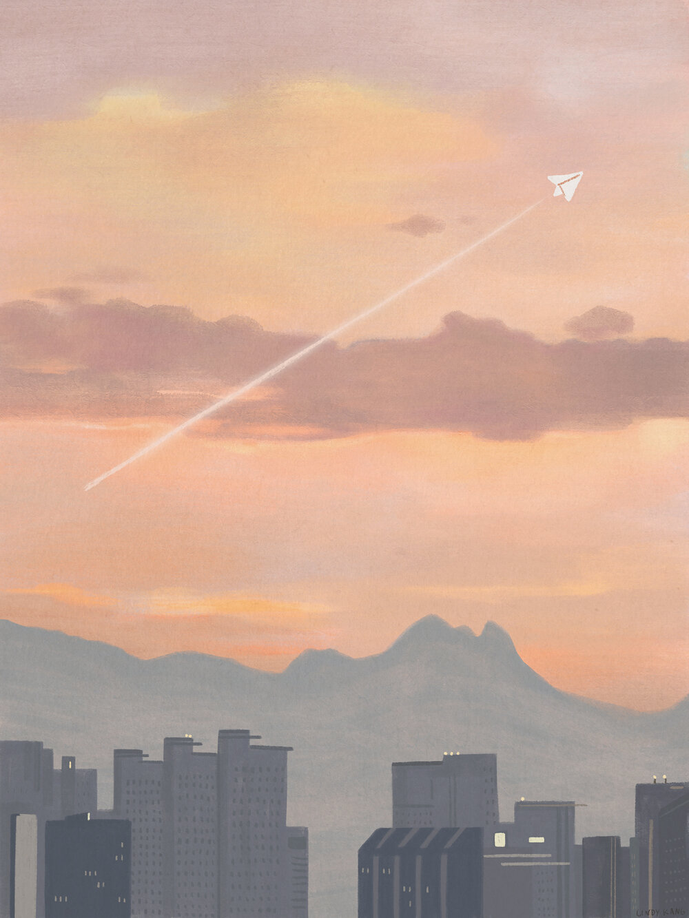 Illustration of a paper plane fly across an evening sky.